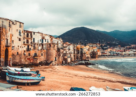 View on old houses in Cefalu. Sicily island, Italy - stock photo