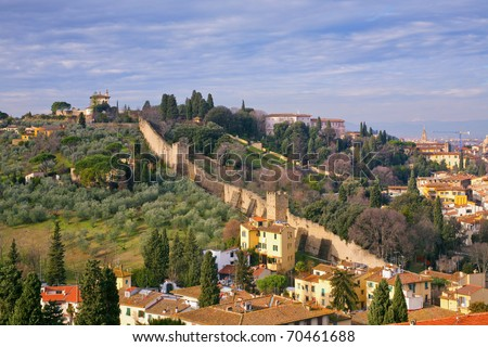view on old pinion wall, Tuscan, Florence - stock photo
