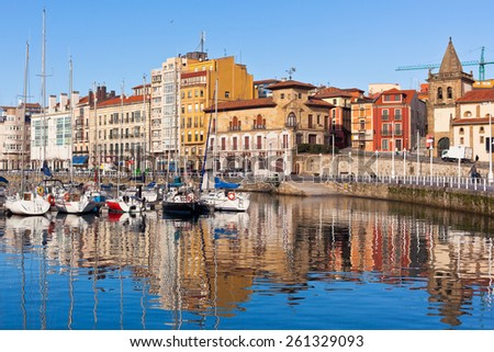 View on Old Port of Gijon and Yachts, Asturias, Northern Spain. Sunny day - stock photo
