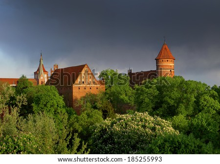 View on old town in Olsztyn, Poland - stock photo