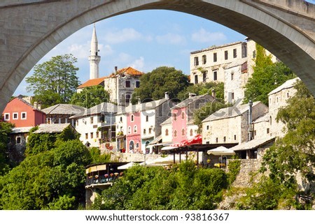 View on old town - Mostar UNESCO city. Bosnia and Herzegovina. - stock photo