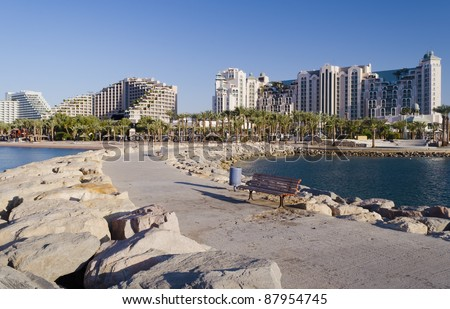 View on on the northern beach and resort hotels in Eilat, Israel - stock photo