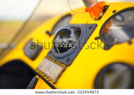View on onboard devises inside the cockpit of a trike - stock photo