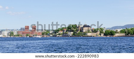 View on Oslo Fjord harbor and Akershus Fortress, Oslo, Norway - stock photo