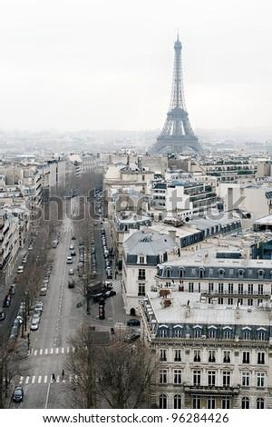View on Paris from Arc de Triomphe. - stock photo