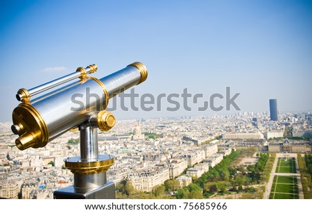 View on Paris from Eiffel tower, Paris, France - stock photo