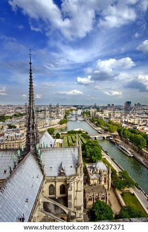 View on Paris from Notre Dame, France - stock photo