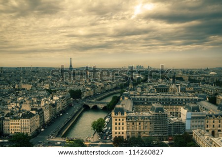 View on Paris, HDR with moody sky from Notre Dame de Paris - stock photo