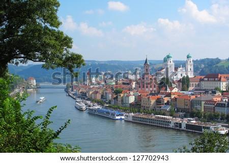 View on Passau, The City of Three Rivers, Bavaria, Germany. - stock photo