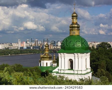 View on Pechersk lavra tower's in Kiev, Ukraine - stock photo