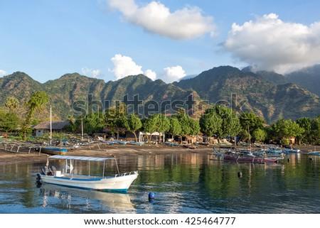 View on Pemuteran village bay,Biorock restoration area,Bali,Indonesia - stock photo