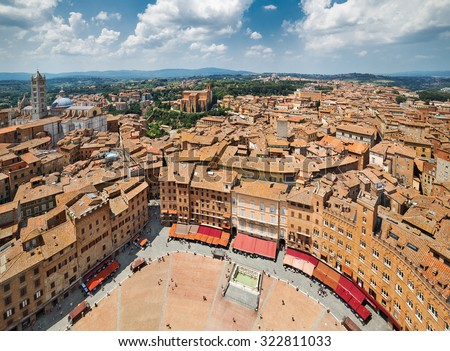 View on Piazza del Campo, Central Square of Siena, Tuscany, Italy - stock photo