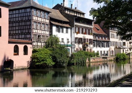 View on picturesque Petite France above canal, Old Town in Strasbourg France, Alsace.  - stock photo