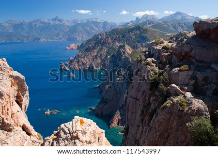 View on Porto gulf from Capo Rosso Genoese tower - stock photo