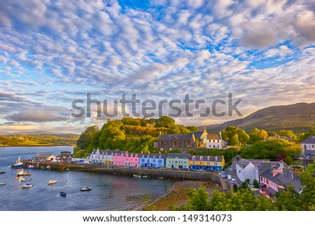 view on Portree before sunset, Isle of Skye, Scotland, UK - stock photo