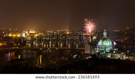 View on Prague bridges and Vltava river with fireworks at night. Czech republic. - stock photo