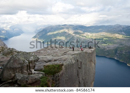 view on preikestolen in Norway - stock photo
