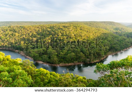 View on Royal National Park and Hacking River from Bangoona Lookout, NSW, Australia. Bird's eye view - stock photo