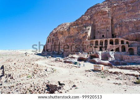 view on Royal Tombs in Petra, Jordan - stock photo