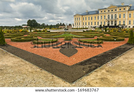 View on Rundale palace from surrounding parks and gardens. The palace was built in 1740. Architect: Francesco Bartolomeo Rastrelli - stock photo