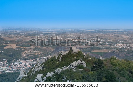 View on Sintra an Castelo dos Mouros Portugal - stock photo