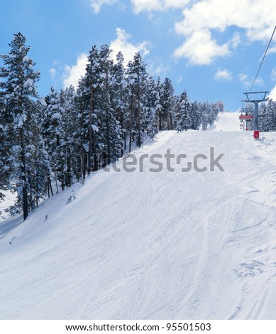 View on ski route near chairlift in Sarikamis. Turkey - stock photo