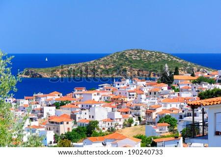 View on Skiathos town and Tsugriaki islet from above, Skiathos island, Sporades archipelago, Greece - stock photo