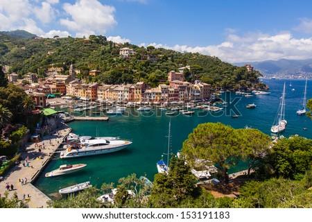 View on small harbour and Santa Margareta Ligurie - stock photo