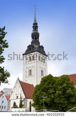 View on St. Nicholas' Church (Niguliste). Old city, Tallinn, Estonia - stock photo