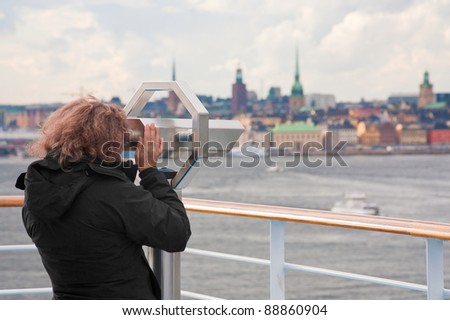 view on Stockholm city in autumn day, Sweden - stock photo