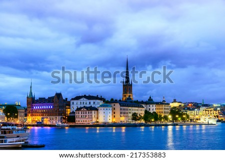 View on Stockholm district Sodermalm at night. Sweden - stock photo