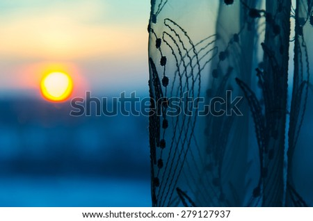 View on sun from window  - stock photo