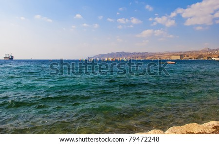 View on the Aqaba gulf, Eilat, Israel - stock photo