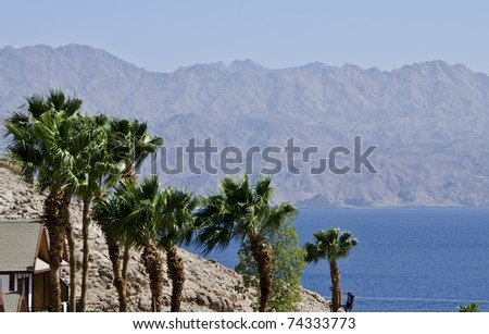 View on the Aqaba gulf from rocky hills near underwater observatory, Eilat, Israel - stock photo
