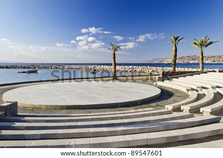 View on the Aqaba gulf from the amphitheatre of northern beach in Eilat, Israel - stock photo