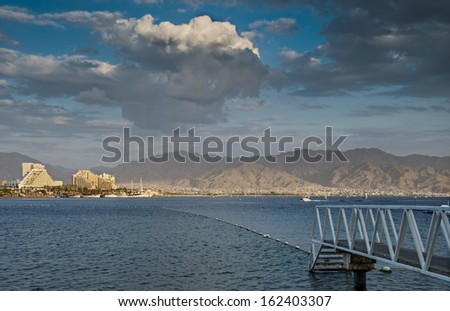 View on the Aqaba gulf from the central beach of Eilat, Israel - stock photo