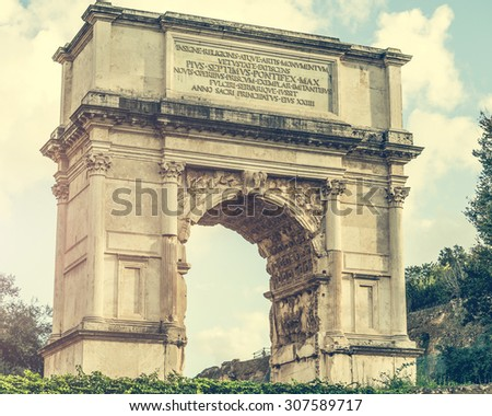 view on The Arch of Constantine is a triumphal arch in Rome near Coliseum - stock photo