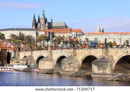 View on the autumn Prague gothic Castle with the Charles Bridge, Czech Republic - stock photo