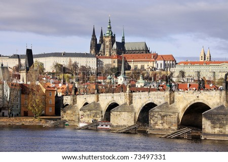 View on the autumn Prague gothic Castle with the Charles Bridge, Czech Republic - stock photo