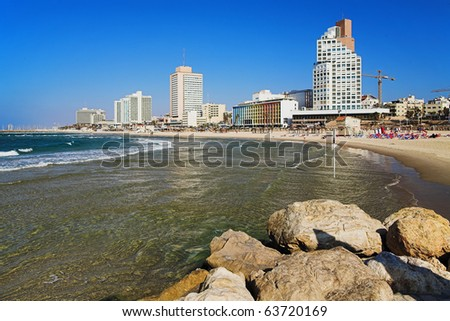View on the beach of Tel-Aviv, Israel - stock photo