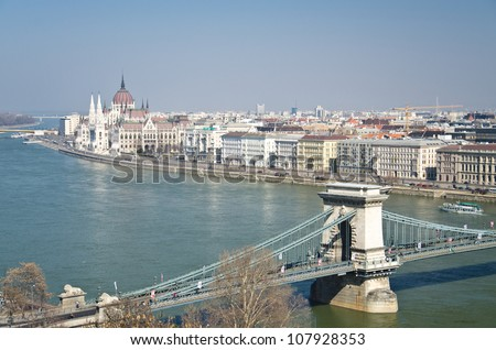 View on the bridges of Danube and the Hungary Parliament, Budapest - stock photo