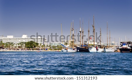 View on the central beach of Eilat - famous resort and recreation city in Israel - stock photo