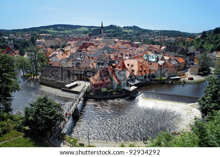 View on the Cesky Krumlov from Castle, Czech Republic - stock photo