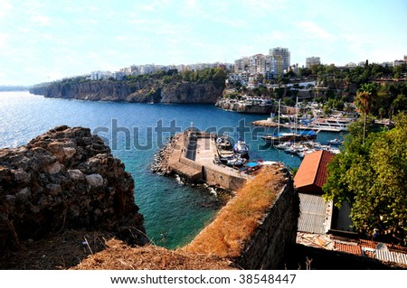 View on the city port and bay. - stock photo