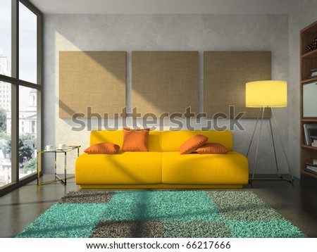 View on the comfortable living-room 3D rendering - stock photo