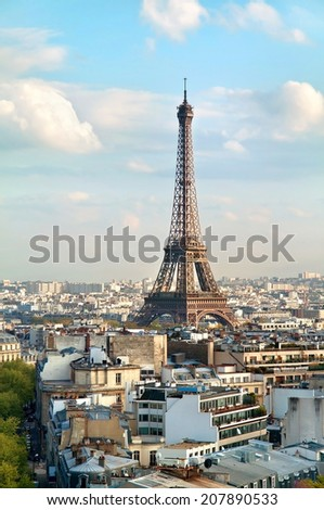 View on the Eiffel Tower from Triumphal Arch. France. Paris.  - stock photo
