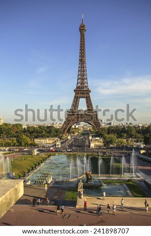View on the Eiffel tower in Paris, France - stock photo
