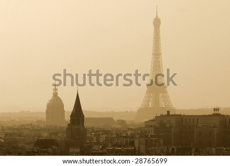 View on the Eiffel Tower with the Hotel des Invalides in the foreground - stock photo