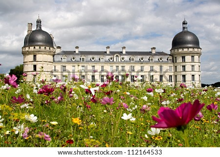 View on the garden of the castle of Valencay - stock photo