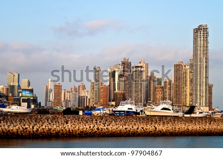 View on the harbor and the skyline of Panama City - stock photo